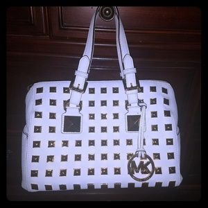 Micheal Kors white satchel w gold studs